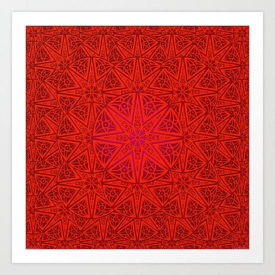 rashim red lace mandala Art Print