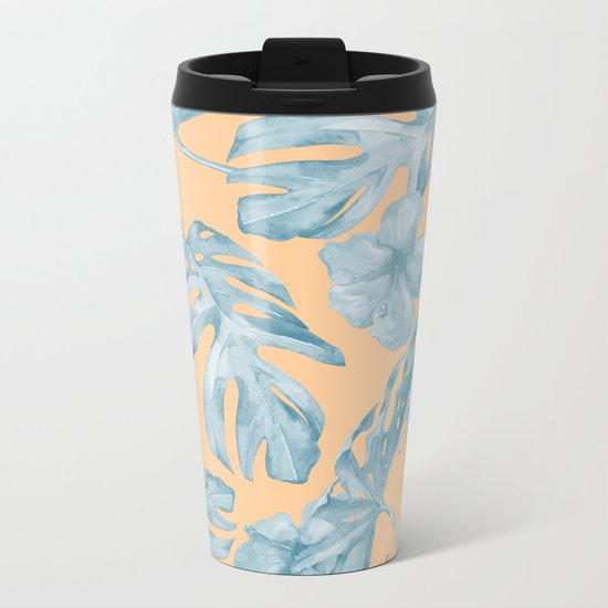 Island Sunrise Hibiscus Palm Orange Ocean Blue Metal Travel Mug
