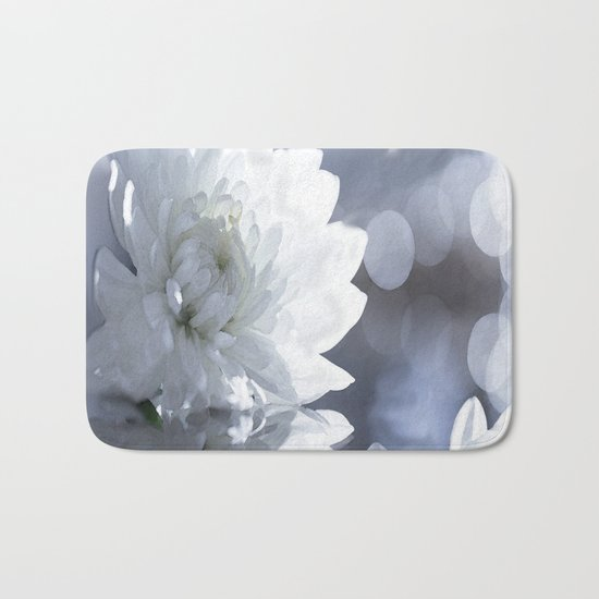 White flower with bokeh on a grey background included wonderful light Bath Mat