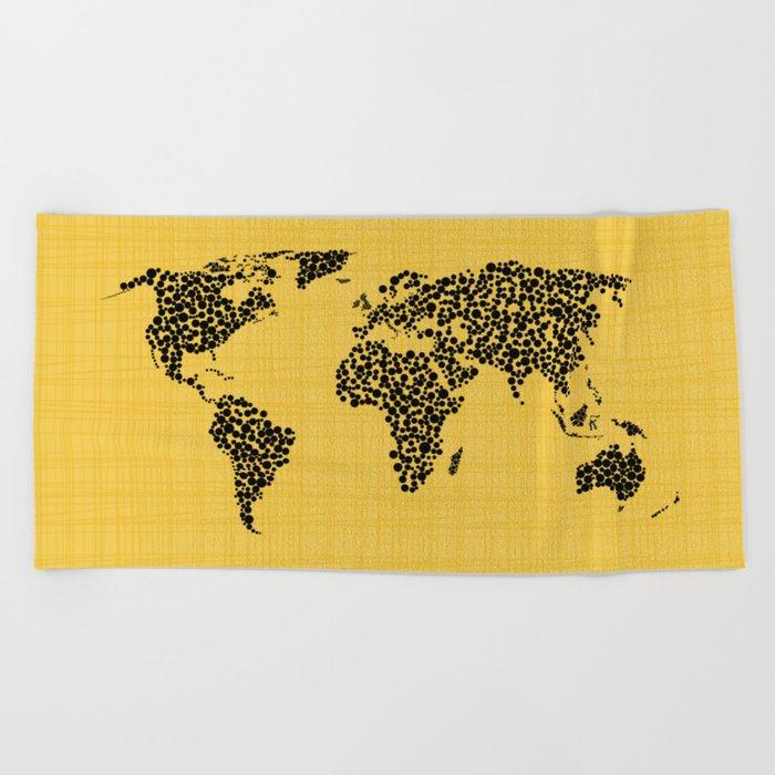 Yellow world map Beach Towel