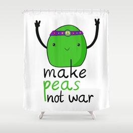 Kawaii vegetable pea pun vegetable for peas not war Shower Curtain