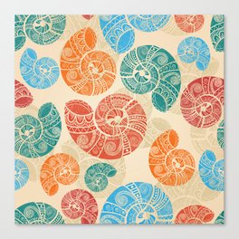Pattern with bright shells Canvas Print