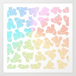 rainbow anatomical heart zendoodle pattern Art Print