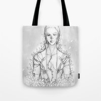 "metal gear solid Tote Bags featuring Metal gear Solid ""The Boss"" by Psychohpeliac"