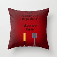 shaun of the dead Throw Pillows featuring Shaun of the dead - It's dangerous to go alone! by tukylampkin