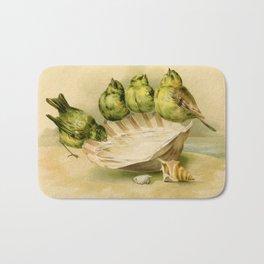 Vintage Yellow Birds on Seashell Bath Mat