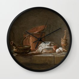 Jean-Baptiste-Simeon Chardin - Still Life with Leeks, a Casserole with a cloth, and a Copper Pot Wall Clock