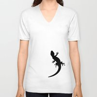 lizard V-neck T-shirts featuring Lizard by Nicklas Gustafsson