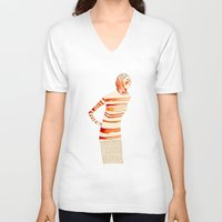 mom V-neck T-shirts featuring Mom by Danelys Sidron