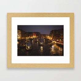 The hustle and bustle of Venice Framed Art Print