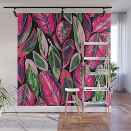 Pink leaves pattern Wall Mural