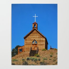 Old West Church on the Hill Poster