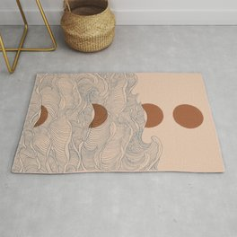 Vintage abstract landscape the great wave ocean sunset moon Rug