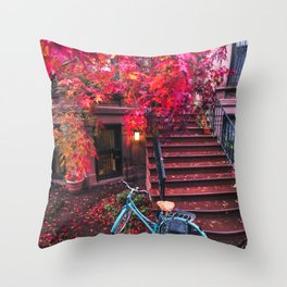 New York City Brooklyn Bicycle and Autumn Foliage Throw Pillow