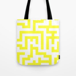 White and Electric Yellow Labyrinth Tote Bag