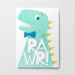 Cute Dinosaur Bow Tie Illustration | RAWR Metal Print