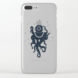 Creative Illustration With Octopus In Diving Helmet.  Adventure, And Nautical Clear iPhone Case