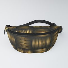 Golden Chocolate Brown Weave Fanny Pack