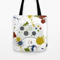 xbox Tote Bags featuring Controller Graffitti XBOX by AngoldArts
