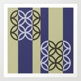 Striped Circles Pattern Art Print
