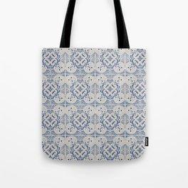 Vintage blue tiles pattern Tote Bag
