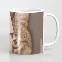 Brown Tabby Cat with Soft Pink Bow Coffee Mug