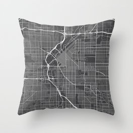 Denver Map, USA - Gray Throw Pillow