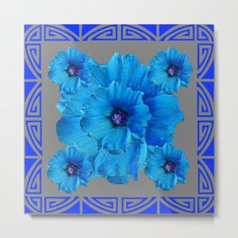DECO BLUE HOLLYHOCKS PATTERN GREY ABSTRACT ART Metal Print