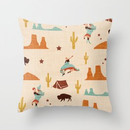 Home on the Range Beige Throw Pillow