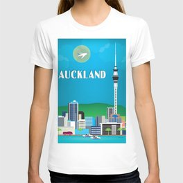 Auckland, New Zealand - Skyline Illustration by Loose Petals T-shirt