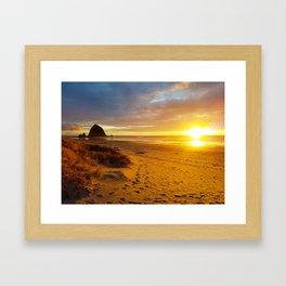 Cannon Beach Oregon at Sunset Haystack Rock Framed Art Print