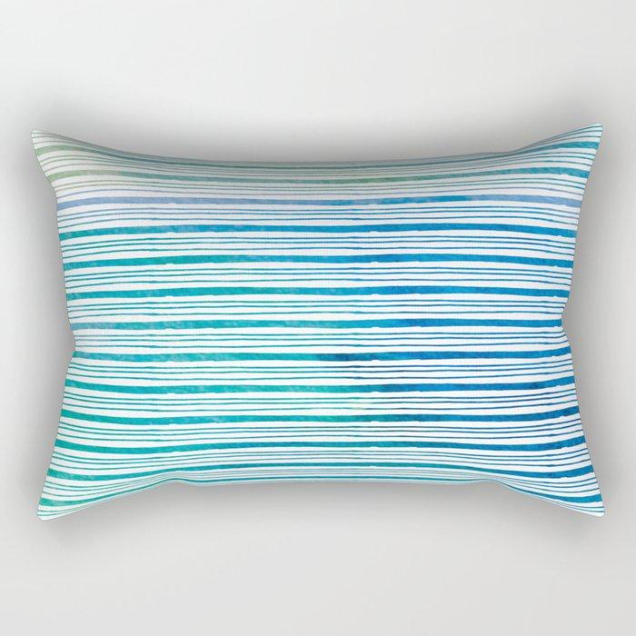 fine aqua handpainted stripes on clear white Rectangular Pillow