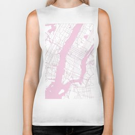 New York City White on Pink Biker Tank