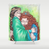 merida Shower Curtains featuring Merida and Elinor by Kimberly Castello