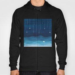 Falling stars, blue, sailboat, ocean Hoody