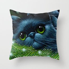 HOLIDAY BLUE SILVER PERSIAN ANGEL CAT RESTING IN HER CHRISTMAS TREE Throw Pillow