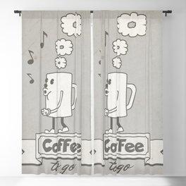 Vintage cartoon coffee drawing Blackout Curtain