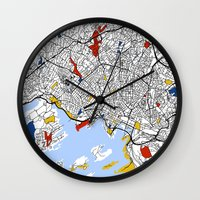 oslo Wall Clocks featuring Oslo mondrian by Mondrian Maps