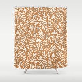 Orange & white leaves Shower Curtain