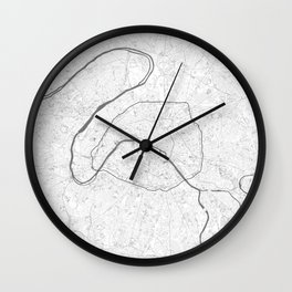 The Map of Paris Line Drawing Wall Clock
