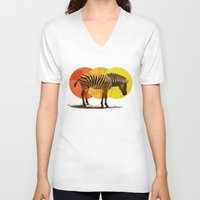 card V-neck T-shirts featuring Zebra Card by Joshie