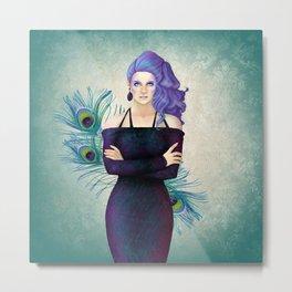 Purple Peacock Pinup Metal Print