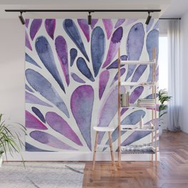 Watercolor artistic drops - purple and indigo Wall Mural