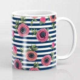 Watercolor Flowers with Nautical Stripes Coffee Mug