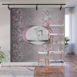 Gymnastics Collection in Delicate Pink and Silver Foil Design Wall Mural