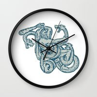 hercules Wall Clocks featuring Hercules Fighting Hydra Club  by patrimonio