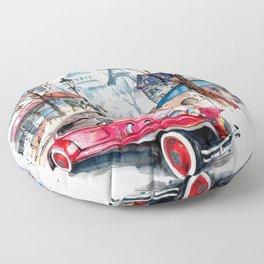 Red retro car Floor Pillow