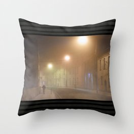 Mysterious Streets of Galway In A Fog Throw Pillow