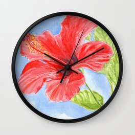 Heavenly Hibiscus Wall Clock