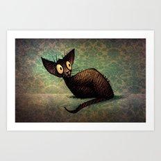 Black Oriental Cat Art Print